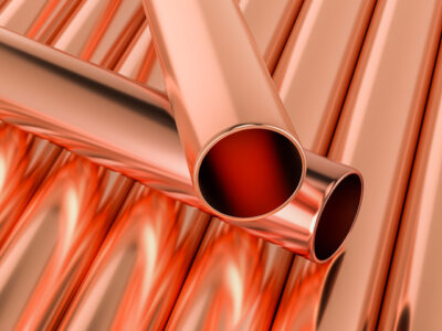Copper pipes background, 3D rendering