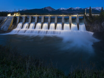 Seebe Hydroelectric Dam near Exshaw at Night